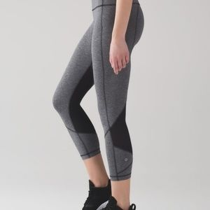 LuluLemon Pace Rival Crop Grey and Black
